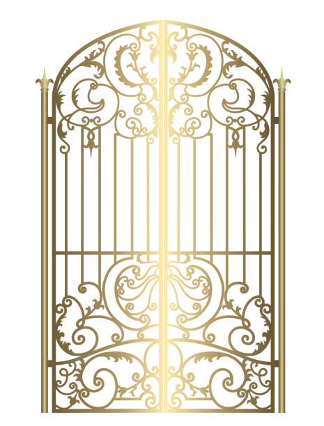 Forged metal gate metal gate with forged ornaments on a white background gate stock illustrations