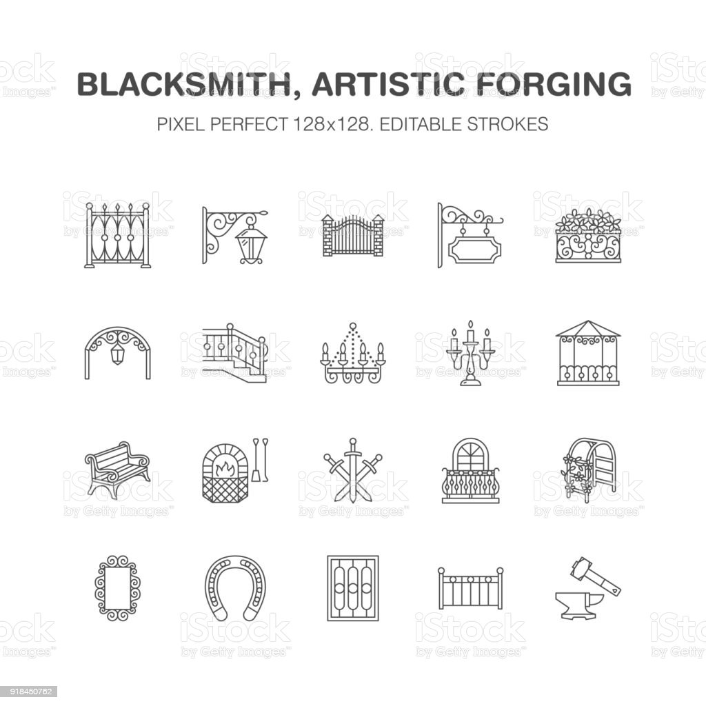 Forged metal products, artistic forging vector flat line icons. Blacksmith , window fence, gate, railing, garden furniture, signboard street lights. Metal decoration signs. Pixel perfect 64x64 vector art illustration