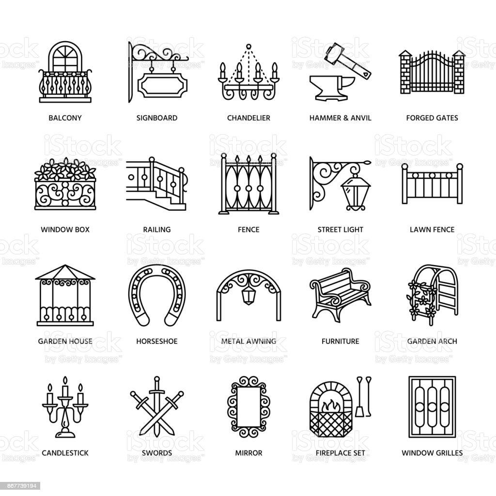 Productos Metal Forjados Vector L Nea Los Iconos De La Forja  # Muebles Hierro Forjado Herreria Artistica