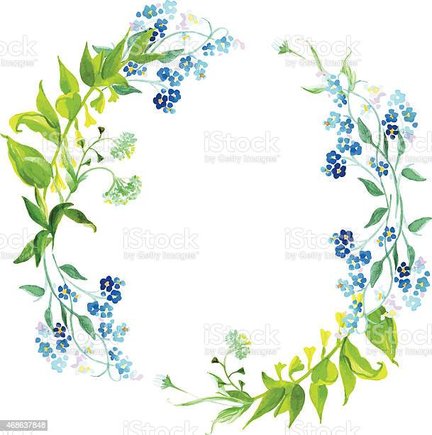 Forgetmenot and herb watercolor round vector frame vector id468637848?b=1&k=6&m=468637848&s=612x612&h=o0 aateovpdhtoe 5 wxwklbhln9u9lt m844fgt0vm=