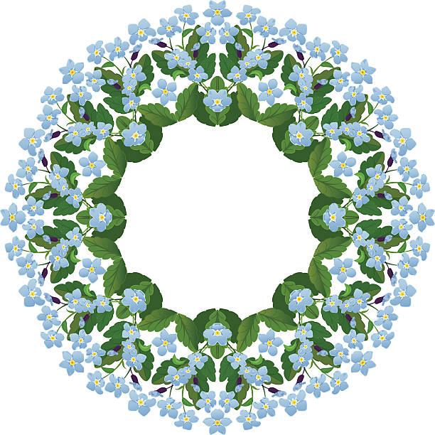 ilustrações de stock, clip art, desenhos animados e ícones de miosótis redonda frame. temporada primavera ou verão flores elemento. - lian empty