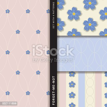 istock Forget-me-not (Set with 4 seamless patterns) 532111856