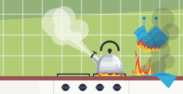 ilustrações de stock, clip art, desenhos animados e ícones de forgotten kitchen duties semi flat vector illustration - fail cooking