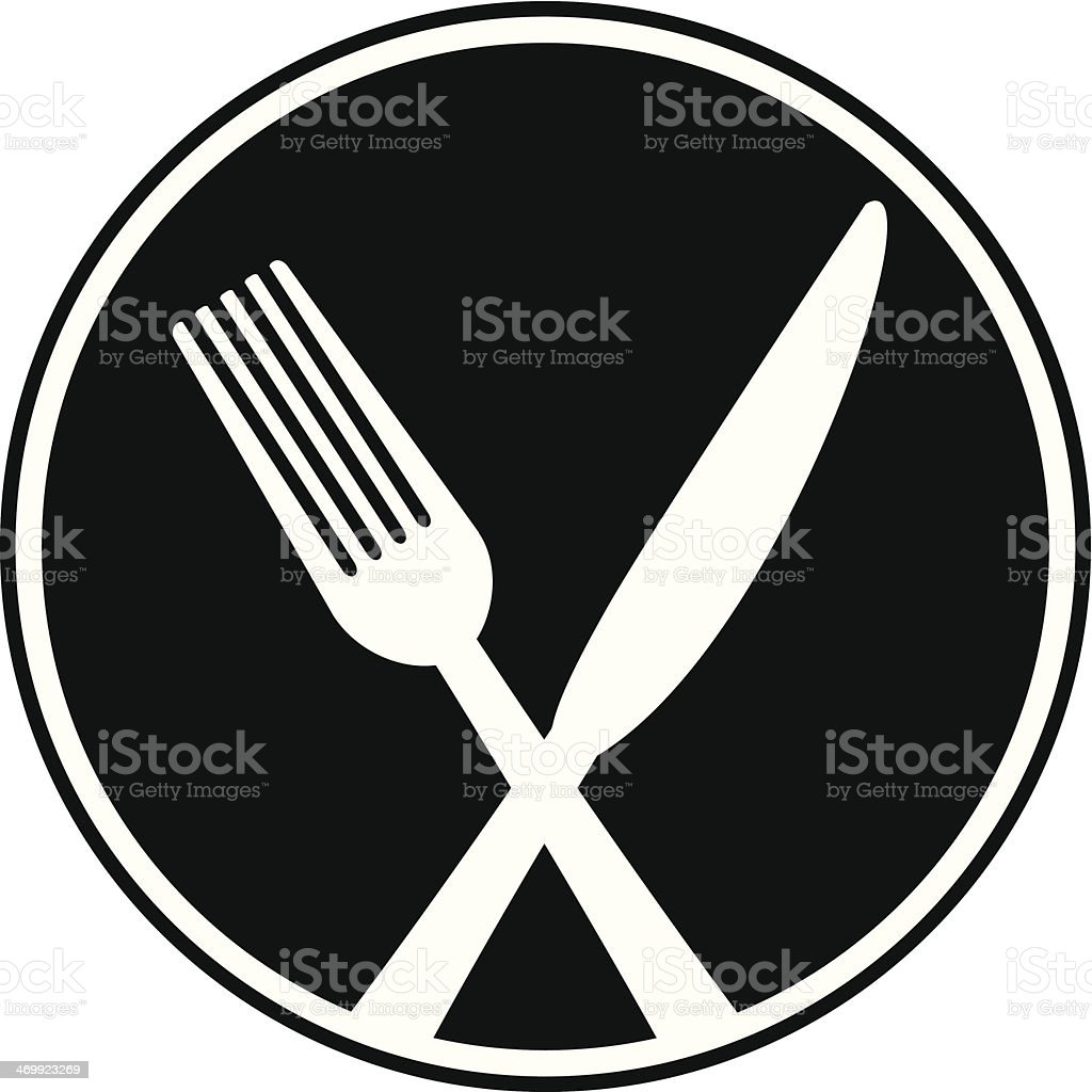 Fork and Knife Cross Symbol royalty-free stock vector art