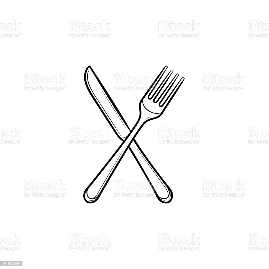 fork and knife hand drawn sketch icon stock vector art