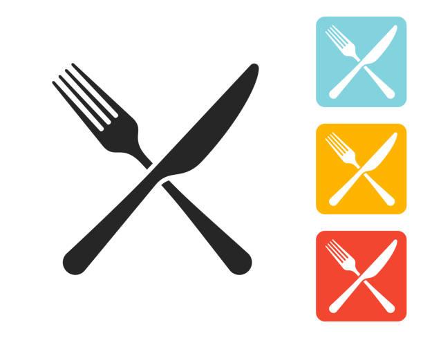 stockillustraties, clipart, cartoons en iconen met vork en mes icon platte grafisch ontwerp - keukenmes