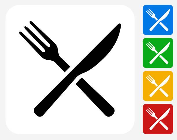 gabel und messer-symbol flache grafik design - gabeln stock-grafiken, -clipart, -cartoons und -symbole