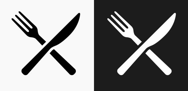 fork and knife icon on black and white vector backgrounds - fork stock illustrations, clip art, cartoons, & icons