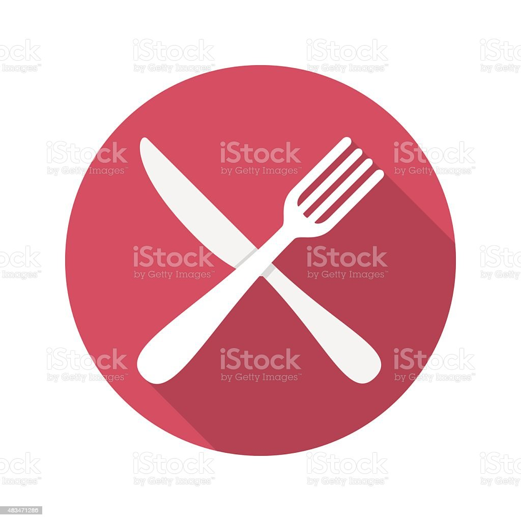 Fork and Knife Icon With Long Shadow vector art illustration