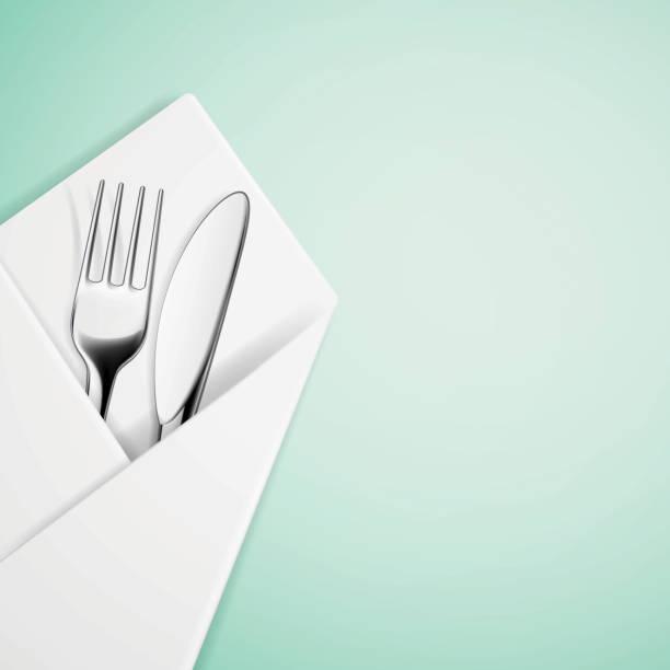 stockillustraties, clipart, cartoons en iconen met fork and knife in a napkin. - servet