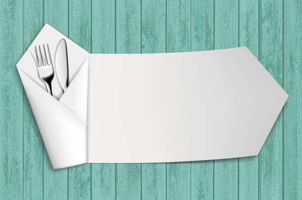 stockillustraties, clipart, cartoons en iconen met vork en mes in een witte servet. houten tafel. - servet