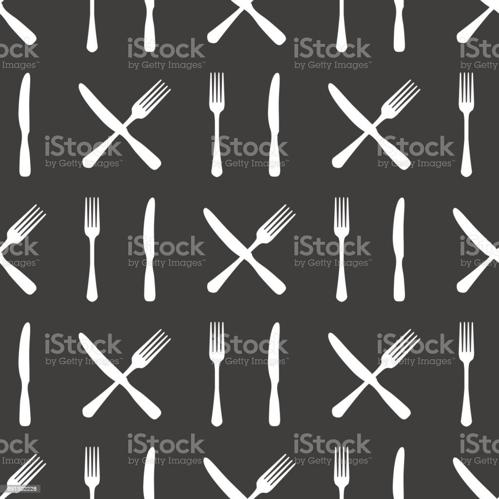 Fork and knife kitchen seamless pattern vector art illustration