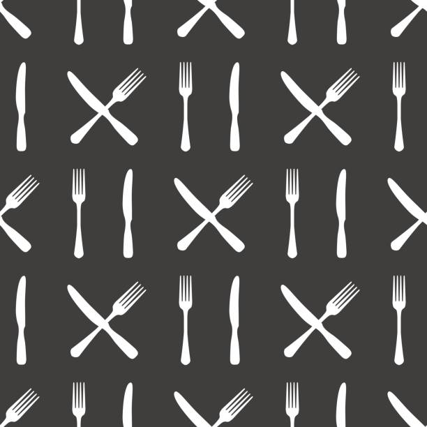fork and knife kitchen seamless pattern - fine dining stock illustrations, clip art, cartoons, & icons