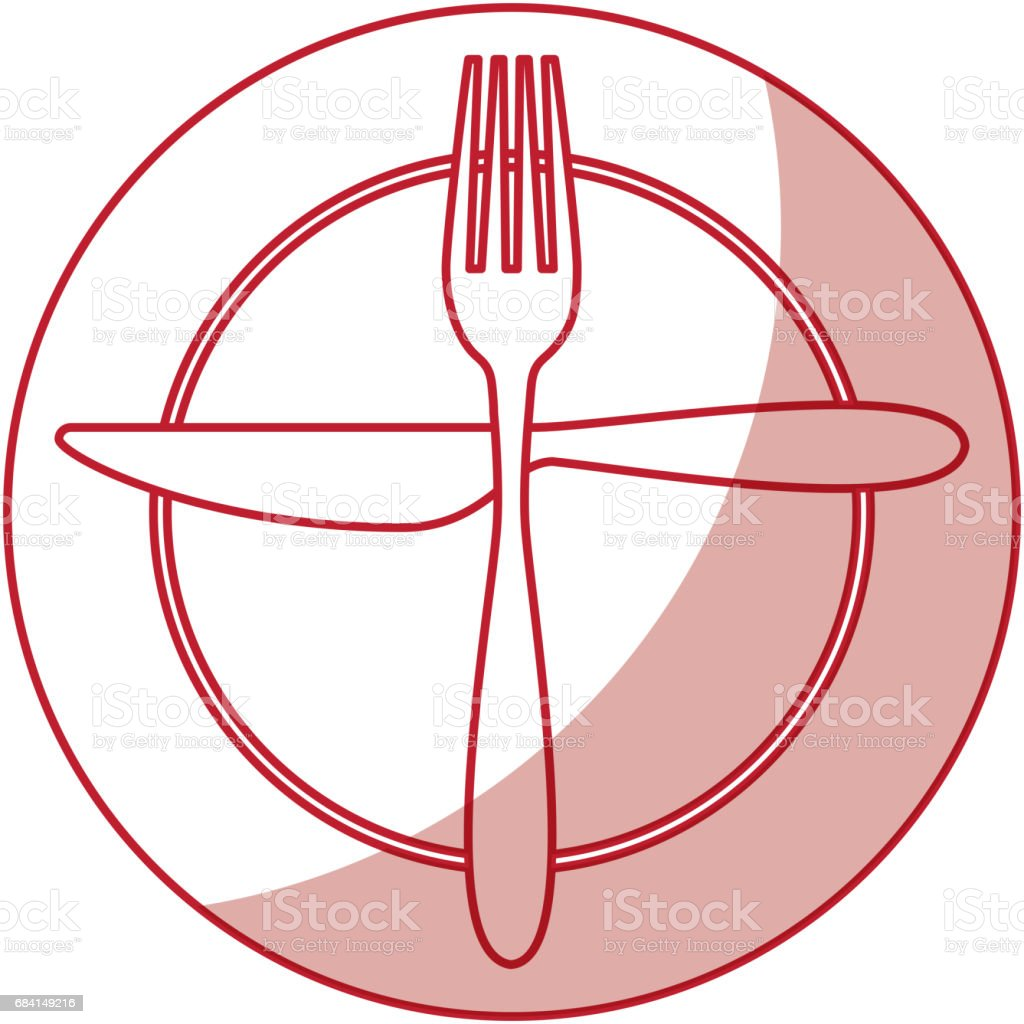 fork and knife with dish cutlery fork and knife with dish cutlery - immagini vettoriali stock e altre immagini di ambiente royalty-free