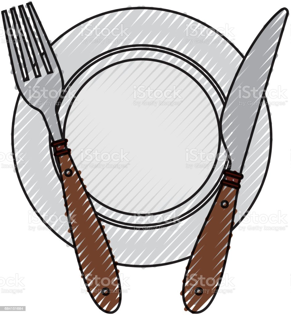 fork and knife with dish cutlery fork and knife with dish cutlery - stockowe grafiki wektorowe i więcej obrazów aranżować royalty-free
