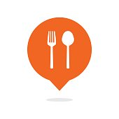 Fork and spoon balloon icon