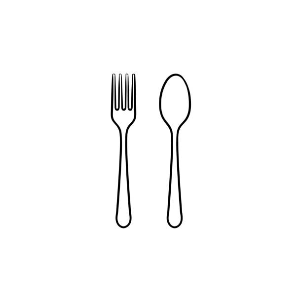 Fork and spoon hand drawn sketch icon Fork and spoon hand drawn outline doodle icon. Cutlery - fork and spoon vector sketch illustration for print, web, mobile and infographics isolated on white background. spoon stock illustrations
