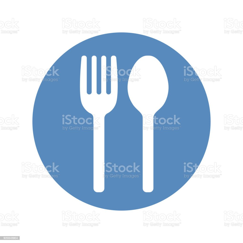 Fork And Spoon Icon Placed In Blue Circle Restaurant Cafe Symbol