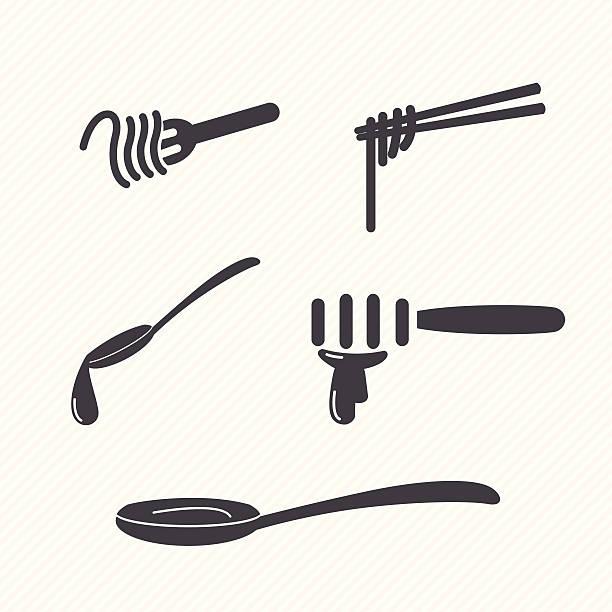 gabel und löffel - winkelküche stock-grafiken, -clipart, -cartoons und -symbole