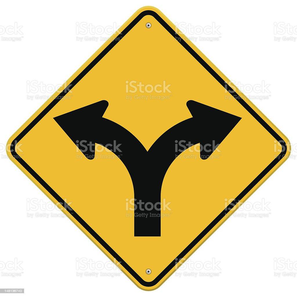 Fork in Road Sign vector art illustration
