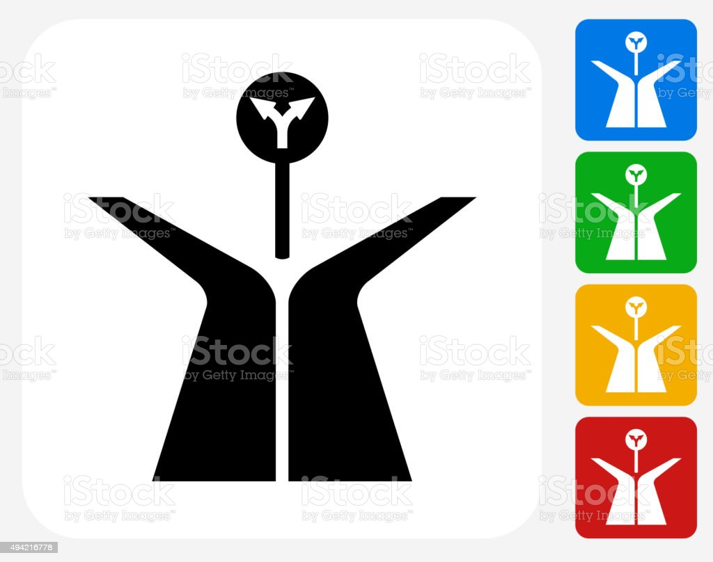 Fork in the Road Icon Flat Graphic Design vector art illustration
