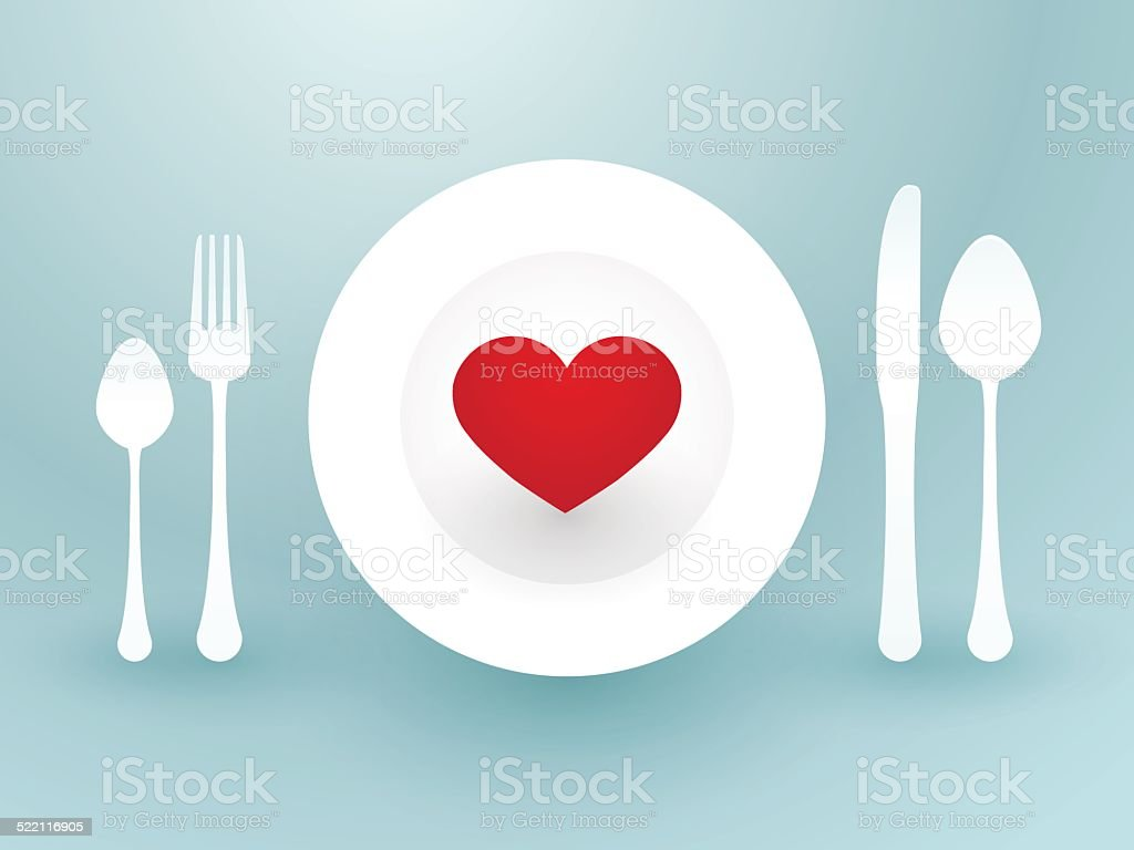fork knife and a red heart on a plate vector art illustration