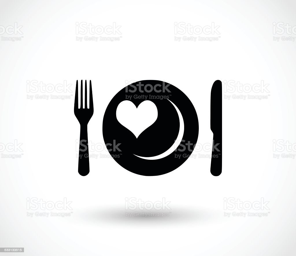 fork knife and plate with a heart icon vector illustration