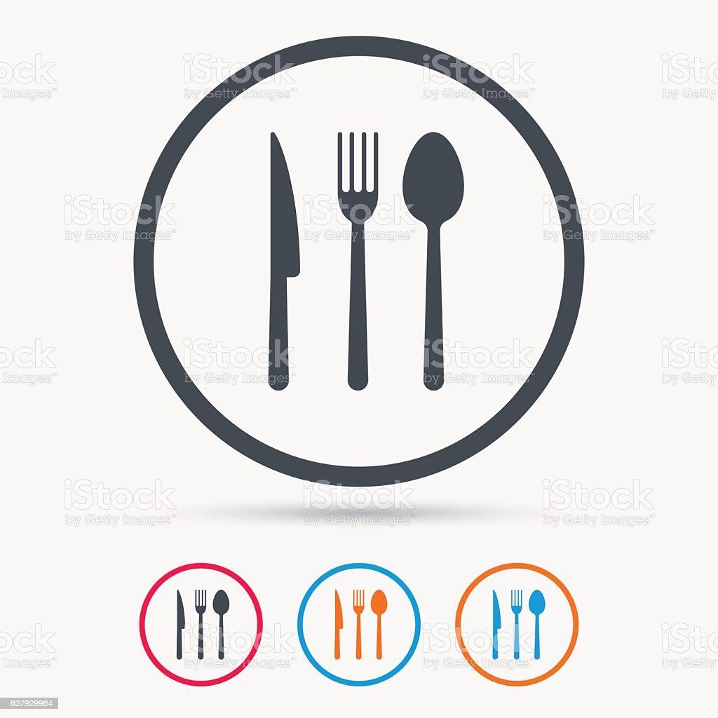Ilustración de Tenedor Cuchillo Y Cuchara Iconos Cubiertos Señal De ...