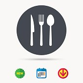 Fork, knife and spoon icons. Cutlery sign.