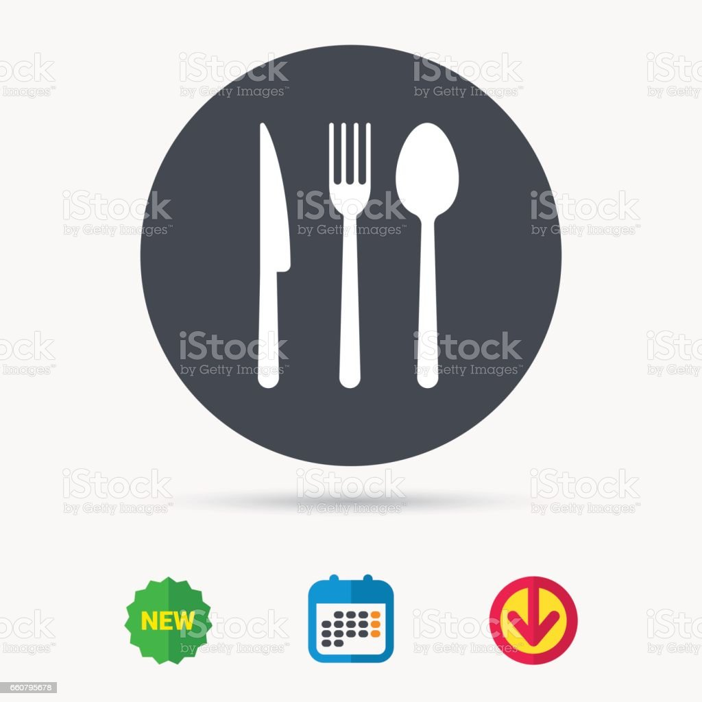 Fork, knife and spoon icons. Cutlery sign. vector art illustration