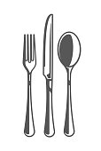 Fork, knife and spoon isolated on white background. Symbol for cooking design logo and emblem. Vector illustration