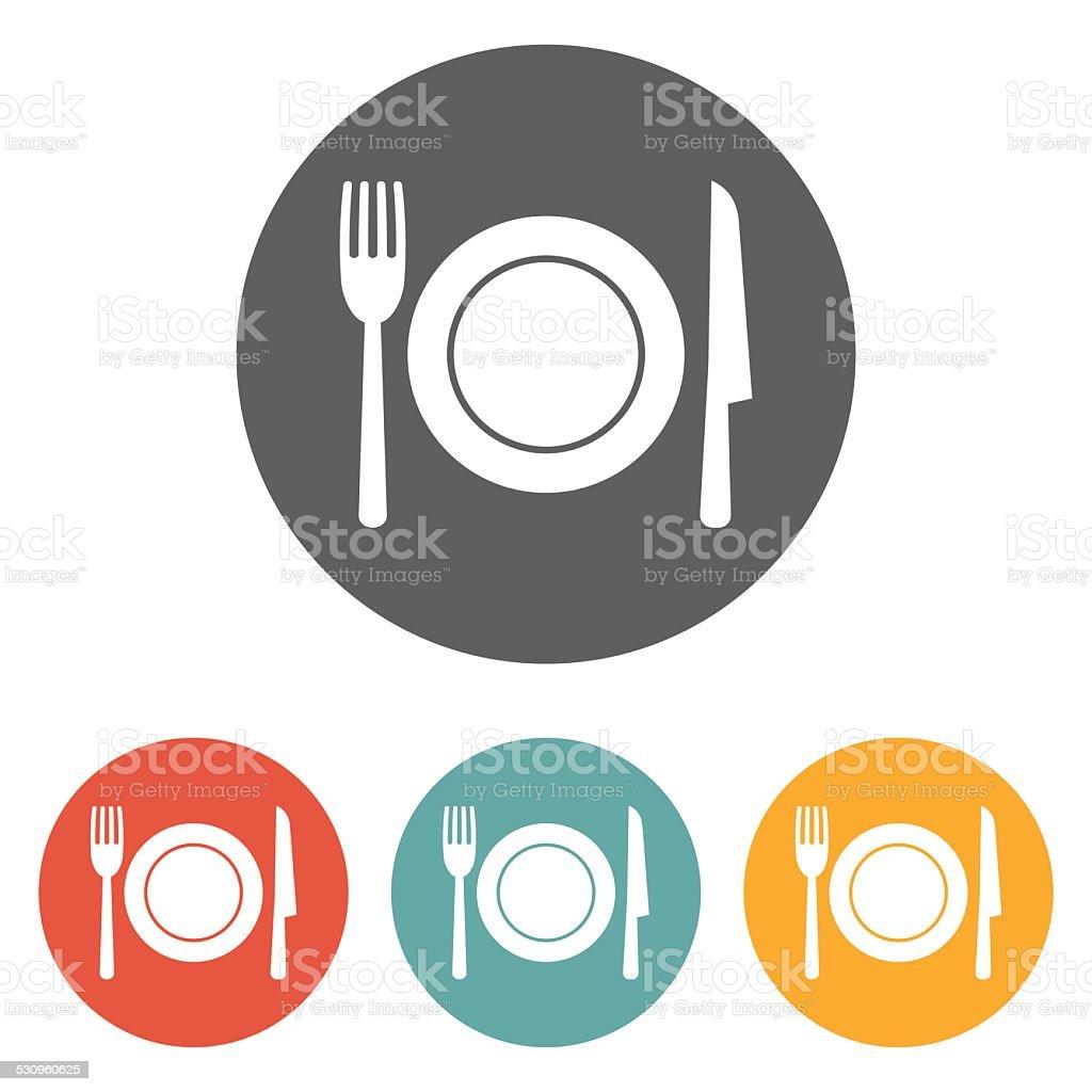 fork knife dish icon vector art illustration