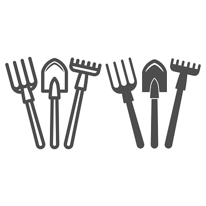 Fork, shovel, rake line and solid icon, gardening concept, set of hand garden tools for digging and loosening ground sign on white background, Garden tools icon in outline style. Vector graphics