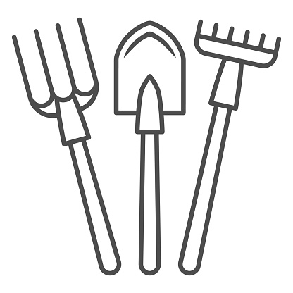 Fork, shovel, rake thin line icon, gardening concept, set of hand garden tools for digging and loosening ground sign on white background, Garden tools icon in outline style. Vector graphics