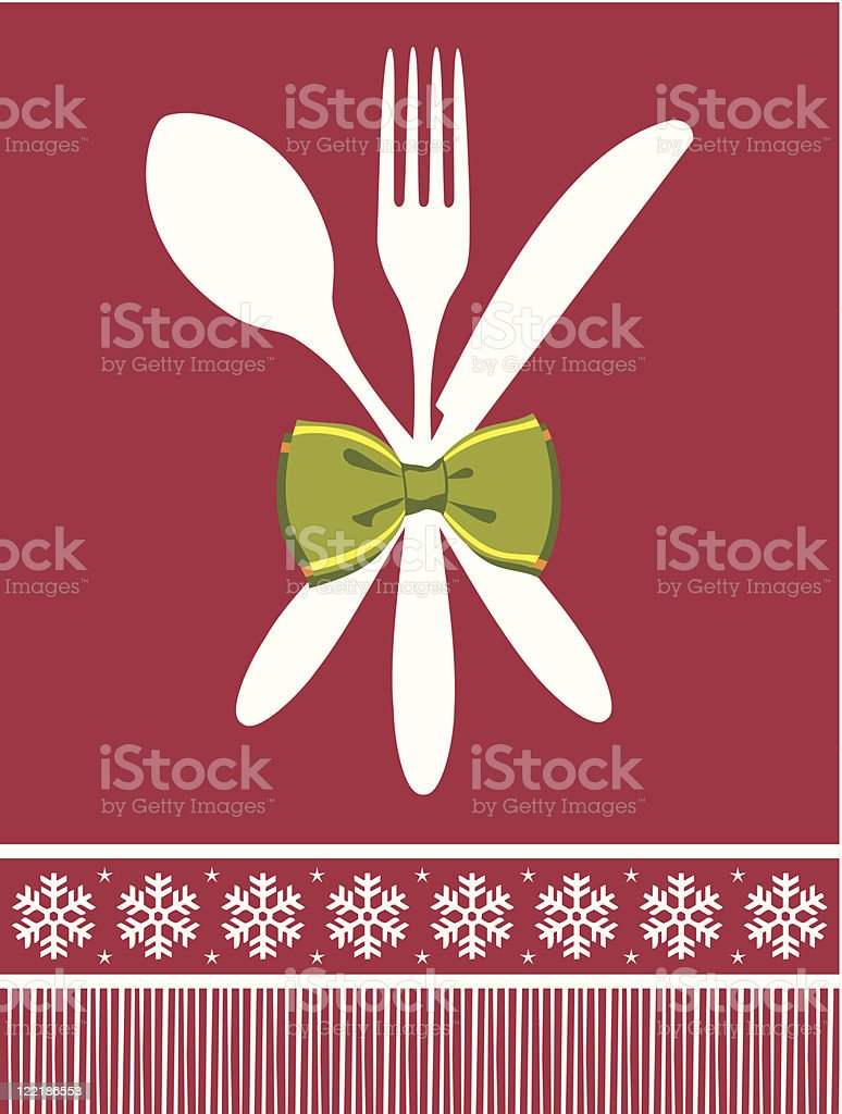 Fork, spoon and knife christmas background royalty-free stock vector art