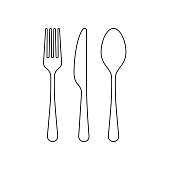 istock Fork spoon and knife line icon, outline vector sign, linear style pictogram isolated on white. Editable stroke 1135100933