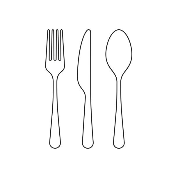 illustrazioni stock, clip art, cartoni animati e icone di tendenza di fork spoon and knife line icon, outline vector sign, linear style pictogram isolated on white. editable stroke - coltello posate