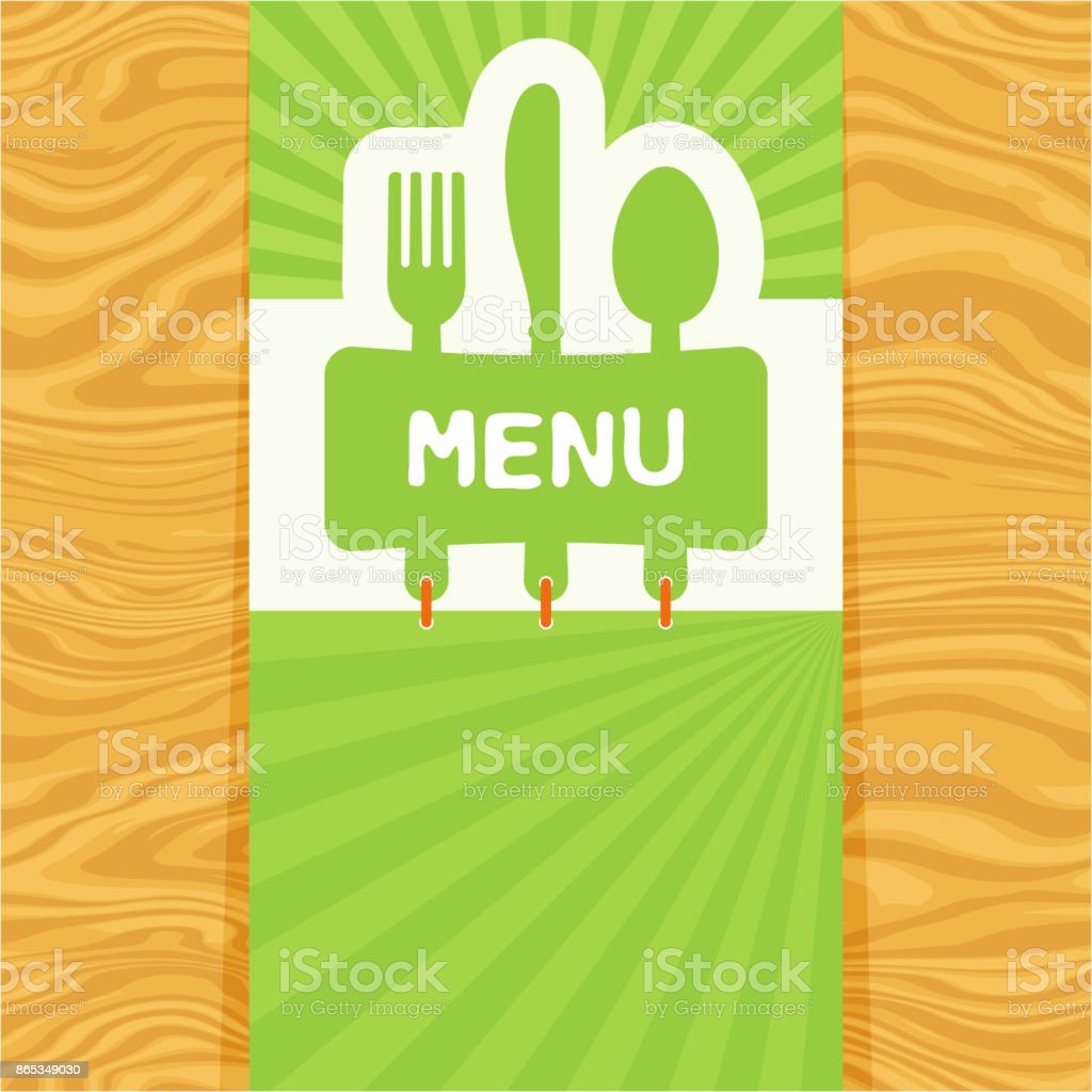 Fork, spoon and knife, tag for text. Flat design vector art illustration