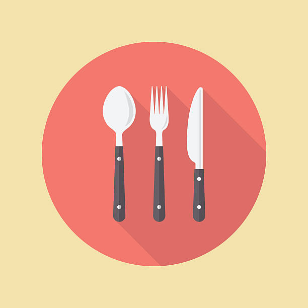 Fork spoon and knife vector art illustration