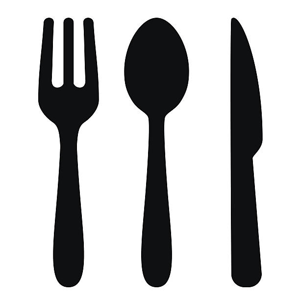 Fork, spoon and knife - VECTOR Vector Illustration of cutlery (Fork, spoon and knife). High resolution JPEG and Transparent PNG included in file. fork stock illustrations