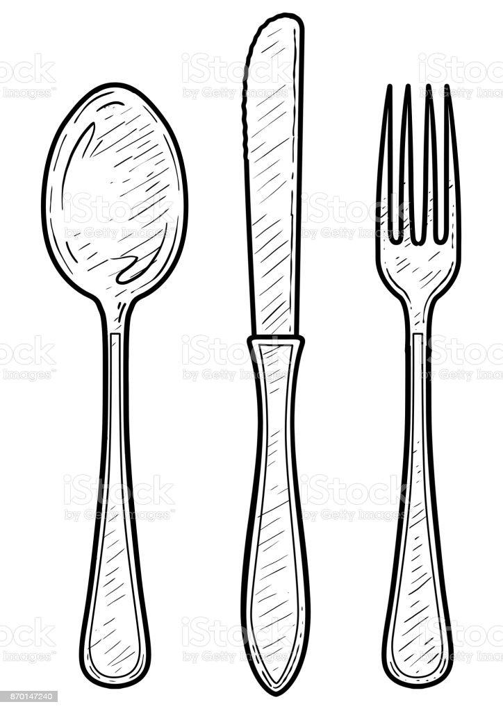 Fourchette cuill re illustration de couteau dessin gravure encre dessin au trait vecteur - Cuillere dessin ...