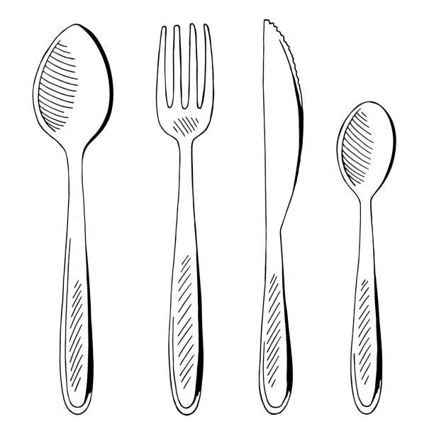 gabel löffel messer set grafik schwarz weiß isoliert skizze illustration vektor - tafelbesteck stock-grafiken, -clipart, -cartoons und -symbole