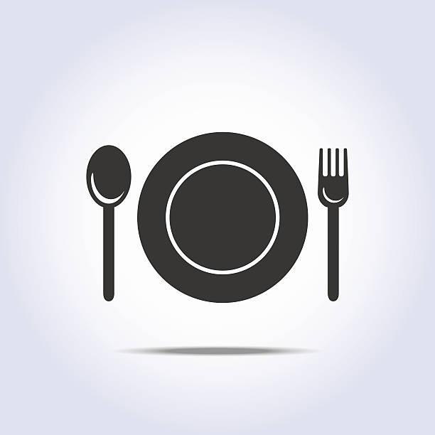 stockillustraties, clipart, cartoons en iconen met fork spun plate icon - gedekte tafel