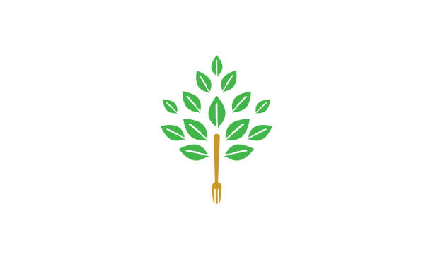 icône du logo fourchette arbre vectoriel - Illustration vectorielle