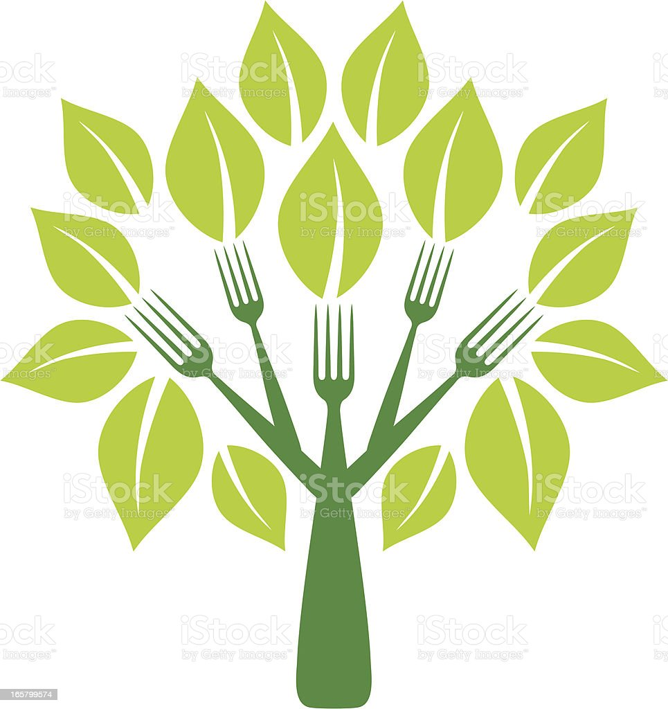 Fork tree with leaves royalty-free stock vector art