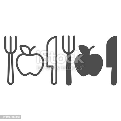 istock Fork with knife and apple line and solid icon, makeup routine concept, Healthy menu sign on white background, One apple with cutlery icon in outline style for mobile and web design. Vector graphics. 1288010381