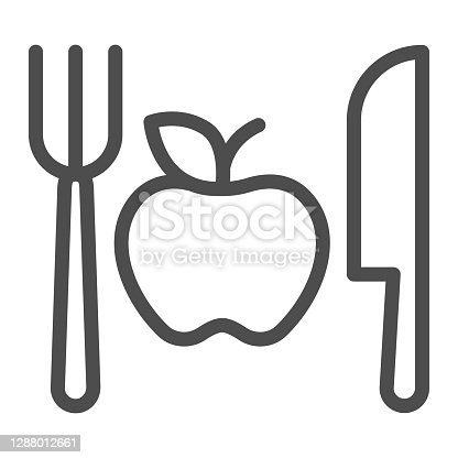 istock Fork with knife and apple line icon, makeup routine concept, Healthy menu sign on white background, One apple with cutlery icon in outline style for mobile and web design. Vector graphics. 1288012661