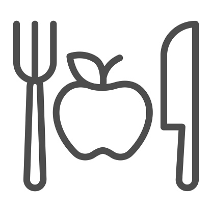 Fork with knife and apple line icon, makeup routine concept, Healthy menu sign on white background, One apple with cutlery icon in outline style for mobile and web design. Vector graphics.