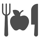 istock Fork with knife and apple solid icon, makeup routine concept, Healthy menu sign on white background, One apple with cutlery icon in glyph style for mobile and web design. Vector graphics. 1288009177