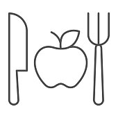 istock Fork with knife and apple thin line icon, makeup routine concept, Healthy menu sign on white background, One apple with cutlery icon in outline style for mobile and web design. Vector graphics. 1288012485